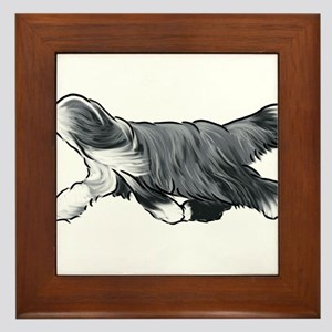 bearded collie Framed Tile