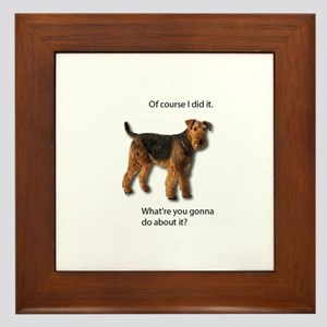 Guilty Airedale Shows No Remorse Framed Tile