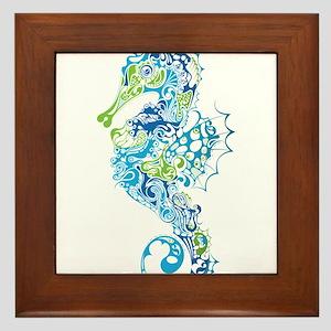 Fancy Seahorse Framed Tile