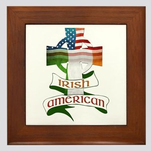 Irish American Celtic Cross Framed Tile