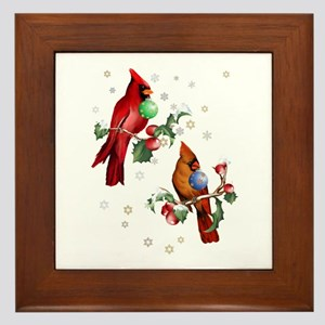 Two Christmas Birds Framed Tile