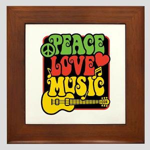 Rasta Peace Love Music Framed Tile