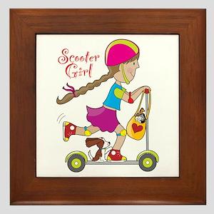 Scooter Girl Framed Tile