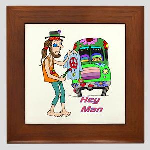Hey Man- Hippie & Van Framed Tile