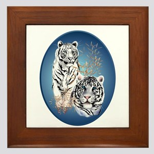 White Tigers Shirts Framed Tile