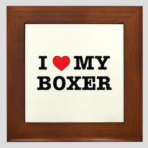 I Heart My Boxer Framed Tile