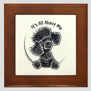 Black Poodle Lover Framed Tile