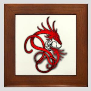 Norse Dragon - Red Framed Tile