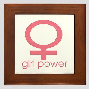 Girl Power Light Pink Framed Tile