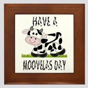 Cute Cow Moovalas day Framed Tile