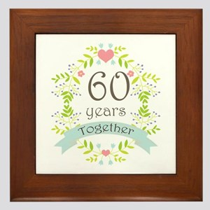60th Anniversary flowers and hearts Framed Tile