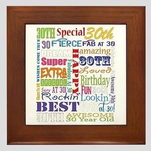 30th Birthday Typography Framed Tile