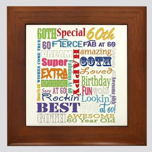 60th Birthday Typography Framed Tile
