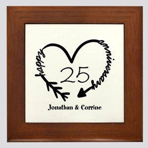 Custom Anniversary Doodle Heart Framed Tile