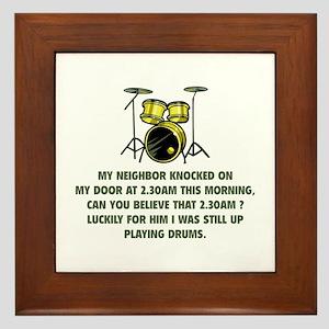 Still Up Playing Drums Framed Tile