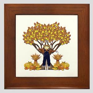 Autumn Scarecrow Framed Tile