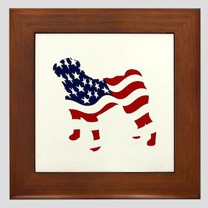 Patriotic Pug - Framed Tile