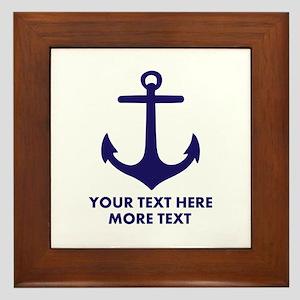 Nautical boat anchor Framed Tile