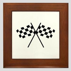 checker flag autorace Framed Tile