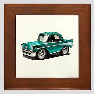 BabyAmericanMuscleCar_57BelR_Green Framed Tile