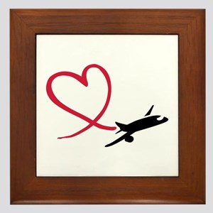 Airplane red heart Framed Tile