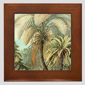 Vintage Tropical Palm Framed Tile