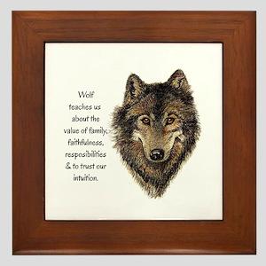 Wolf Totem Animal Guide Watercolor Nat Framed Tile