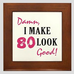Hot 80th Birthday Framed Tile