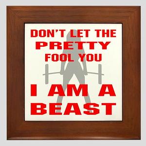 Female I Am A Beast Framed Tile