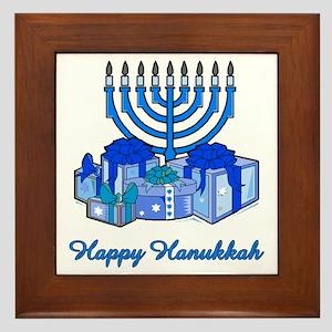 Menorah and Gifts Framed Tile