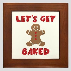 Let's Get Baked Funny Christmas Framed Tile