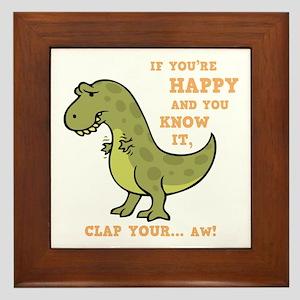 t-rex-clap-2-DKT Framed Tile