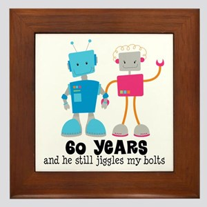 60 Year Anniversary Robot Couple Framed Tile