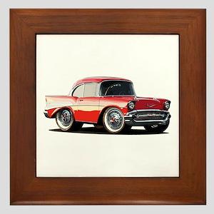 BabyAmericanMuscleCar_57BelR_Xmas_Red Framed Tile