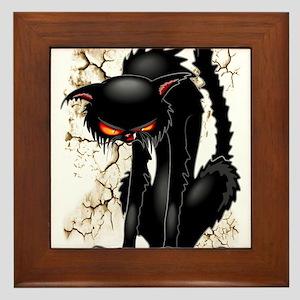 Black Cat Evil Angry Funny Character Framed Tile