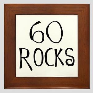 60th birthday saying, 60 rocks! Framed Tile