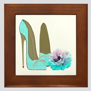 Turquoise Lace Stilettos and Rose Art Framed Tile