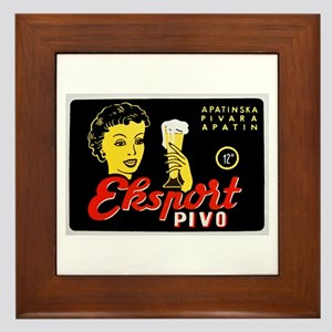 Serbia Beer Label 1 Framed Tile
