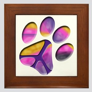 Peaceful Paw Print Framed Tile