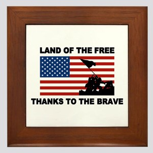Land Of The Free Thanks To The Brave Framed Tile