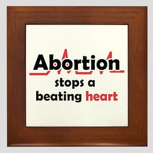 Abortion stops heart Framed Tile