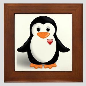 penguin with heart Framed Tile