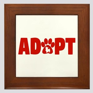 Cute Pets Paw Cat Dog Adopt Red Framed Tile