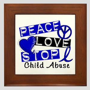 Peace Love Stop Child Abuse 1 Framed Tile
