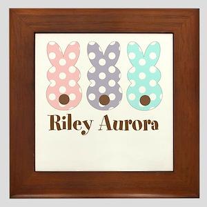 Custom name Polka dot bunnies Framed Tile