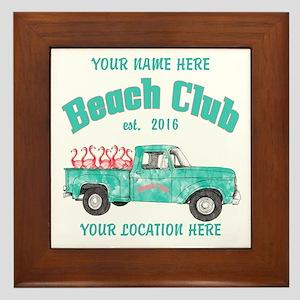 Flamingo Beach Club Framed Tile