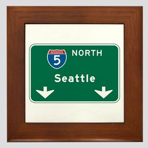 Seattle, WA Highway Sign Framed Tile