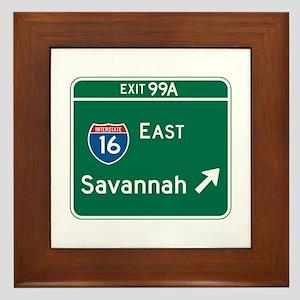 Savannah, GA Highway Sign Framed Tile