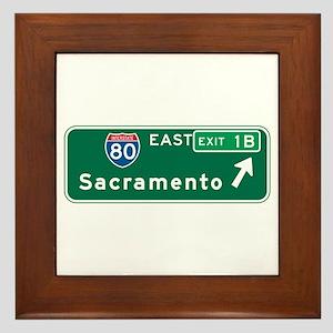 Sacramento, CA Highway Sign Framed Tile