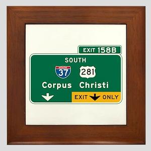 Corpus Christi, TX Highway Sign Framed Tile